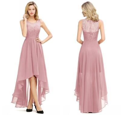 Women Long Lace High Low Cocktail Dresses Prom Gown Bridesmaid Wedding Dress UK • 37.43£