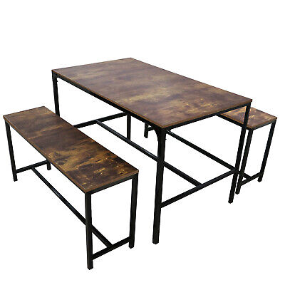 $139.99 • Buy 3 Piece Dining Table Set W/2 Bench Glass Metal Kitchen Room Breakfast Furniture