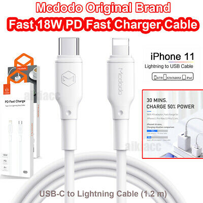 AU13.99 • Buy 3A 18W USB-C To Lightning Cable (1.2m) MCDODO PD Fast Charger Cable F IPhone 11