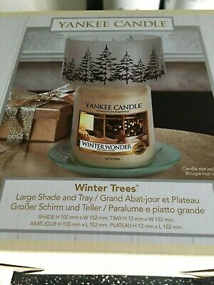 Yankee Candle Winter Trees Medium Or Large Jar Barrel Shade & Tray Set Vhtf Bnib • 49.95£