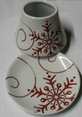 Yankee Candle Snowflake Ceramic Red & White Small Shade & Tray Set Rare Lovely • 27.95£