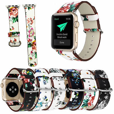 $ CDN14.12 • Buy Leather Band Strap 38mm/42mm For Apple Watch Series 3 2 1 Vintage Floral Printed