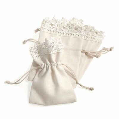 5 X Wedding Favour Natural Cotton Ivory Bags With Lace Trim 10 X 13.5cm • 5.35£