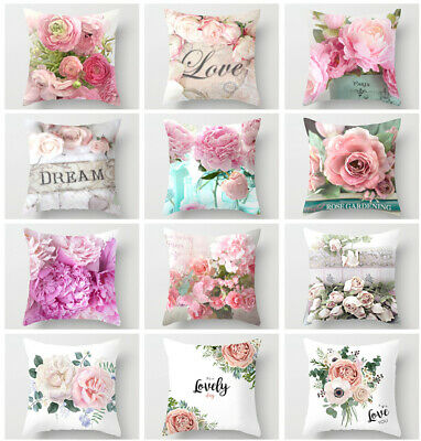 Pretty Flower LOVE Throw Pillow Case Peach Skin Cushion Cover Home Sofa Decor • 2.99£