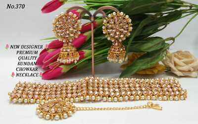 $19.99 • Buy Indian Bollywood Kundan Bridal Choker Necklace Jewelry Polki Wedding Set White