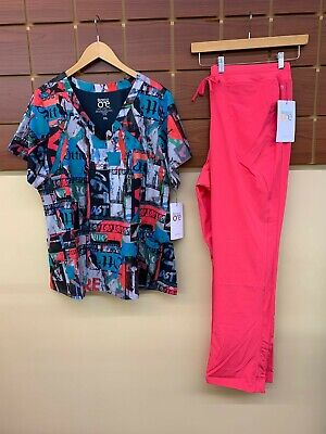 $20 • Buy NEW Barco One Pink Lemonade Print Scrubs Set With 2XL Top & 2XL Pants NWT