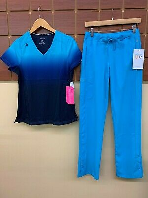 $9.50 • Buy NEW Turquoise Print Scrubs Set With Koi XS Top & Barco One XS Pants NWT