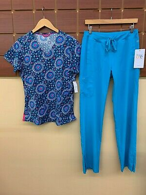 $6.50 • Buy NEW Turquoise Print Scrubs Set With Small Top & Barco One Small Pants NWT