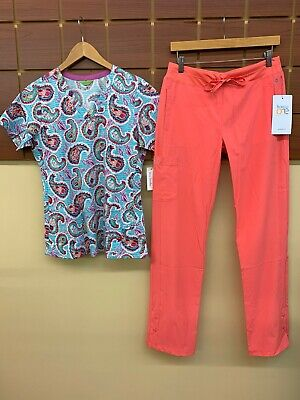 $12 • Buy NEW Coral Print Scrubs Set With Small Top & Barco One Small Pants NWT