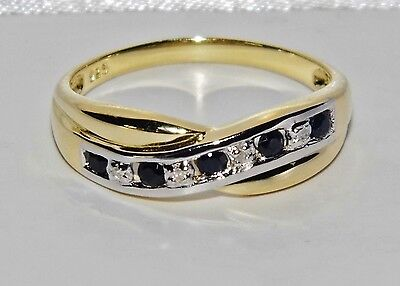 9ct Yellow Gold & Silver Blue Sapphire & Diamond Crossover Eternity Ring Size J • 39£