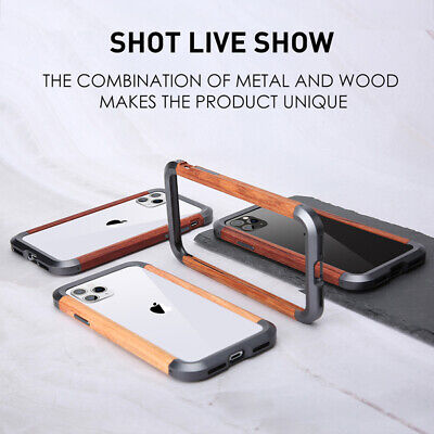 For IPhone 11/11 Pro/ Max Metal Armor Wooden Frame Bumper Shockproof Case Cover • 12.99£