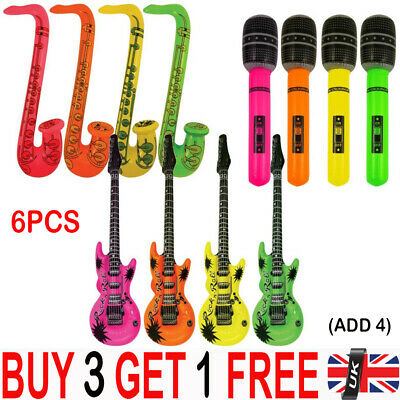6PCS Inflatable Music Instruments Guitar/Microphone COLORFUL BLOW UP YY UK STOCK • 0.99£