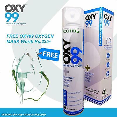 Oxy99 Portable Oxygen Cylinder/Can 6 Ltrs/0.17 Oz With Mask - Free Ship • 31.98£