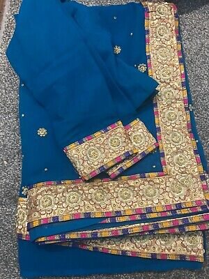 Saree Indian Georgette Gold Stone Beads Beautiful Party Sari Ready Blouse • 24.99£