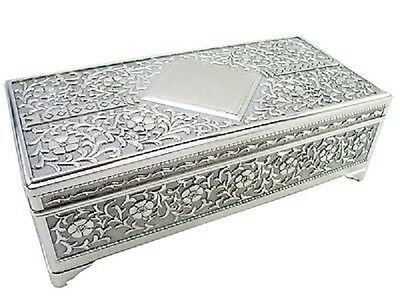 Personalised Large Antique Silver Oblong Shaped Trinket Jewellery Box Engraved • 26.99£