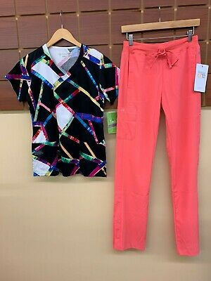 $1.79 • Buy NEW Coral Print Scrubs Set With BIO XS Top & Barco One XS Tall Pants NWT