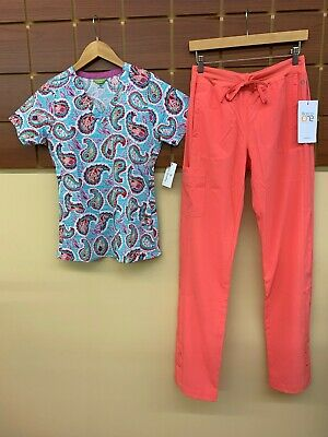 $0.99 • Buy NEW Coral Print Scrub Set With Vera Bradley XS Top & Barco One XS Tall Pants NWT