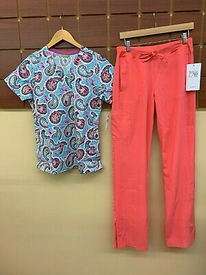 $1.25 • Buy NEW Coral Print Scrubs Set With Small Top & Barco One Small Tall Pants NWT