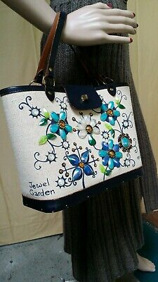 $79 • Buy Vintage Original Collins Of Texas Tote Signed E C Jewel Garden Leather W/Linen