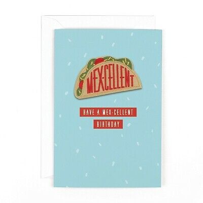 £3.79 • Buy Hotchpotch Ironing Man Birthday Card  Have A Mex-cellent Birthday Iron On Patch