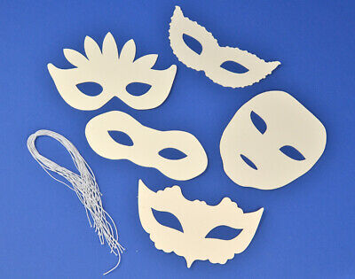 16 Assorted White Card Craft Masks For Kids To Decorate For Crafts • 4.50£