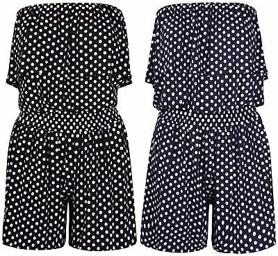 Ladies Playsuit Polka Dot Shorts Bandeau Jumpsuit Elasticated Summer New Womens  • 4.11£