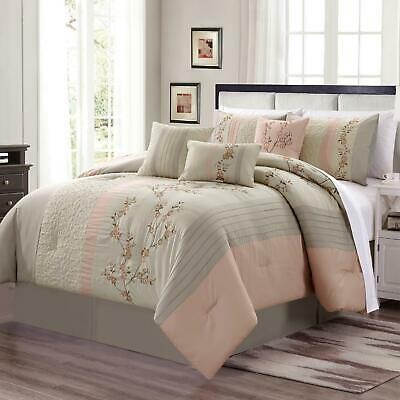 $69.99 • Buy 7-Piece Blush Taupe Embroidered Floral Cherry Blossom Striped Comforter Set