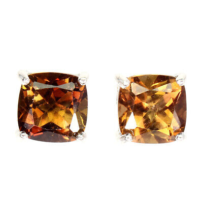£36.28 • Buy Cushion Imperial Topaz 9mm 14K White Gold Plated 925 Sterling Silver Earrings