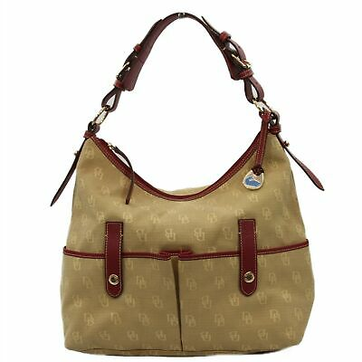 $74.99 • Buy Dooney & Bourke Anniversary Signature Lucy Bag With Leather Trim Tan/Red KH16