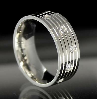 $6.99 • Buy Mens Promise Band Stainless Steel Ring 5 Stone CZ Comfort Fit 8mm Size 8 - 13