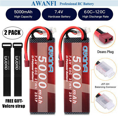 $ CDN72.89 • Buy 2x 7.4V 5000mAh 2S Lipo Battery 100C Deans For 1/8 RC Car Truck Boat FPV Traxxas
