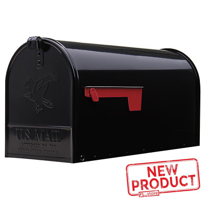 $37.30 • Buy Large Post Mount Mailbox Metal Galvanized Rural House Mail Box Steel Black NEW