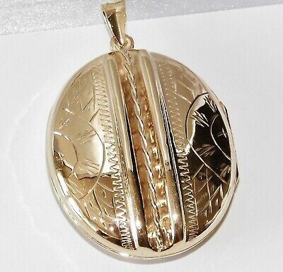 £59 • Buy 9ct Yellow Gold On Silver Victorian Large Detailed Oval Photo Locket