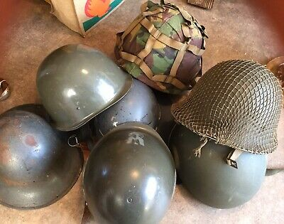 Job Lot Of 7 Original Military Helmets French Paratrooper, WW2 British Army Etc • 53.88£