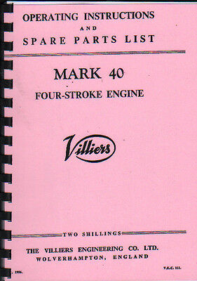 Villiers 'MARK 40'' Stationary Engine Operating Parts Manual Book • 7.80£