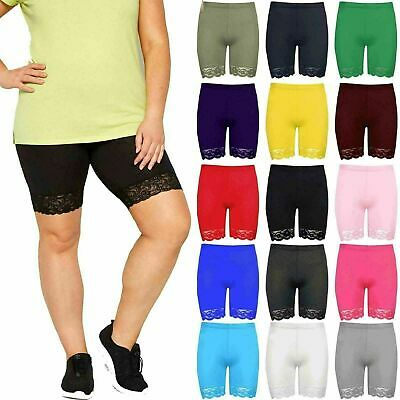 Womens Ladies Scallop Lace Trim Jersey Gym Bike Cycling Hot Pants Tights Shorts  • 4.29£