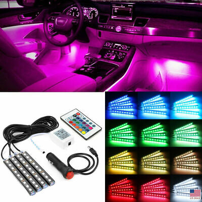 $11.89 • Buy 4X 36 LED Car SUV Interior Decor Neon Atmosphere Light Strip Remote Control US