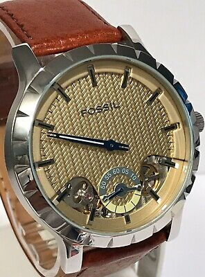 """$139 • Buy Fossil """"TWISt"""" 48mm Champagne Heringbone Dial Exposed Balance Wheel Mens Watch"""