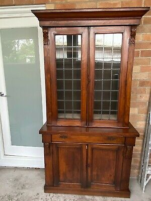 AU525 • Buy ANTIQUE VICTORIAN BOOKCASE MAHOGANY CABINET Pickup Only
