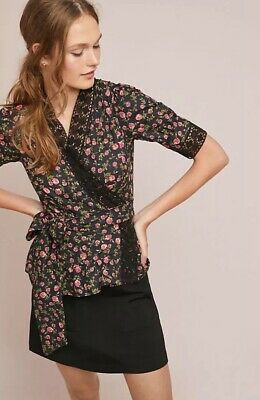 $ CDN103.11 • Buy NWT $178 Anthropologie Lavaudieu Floral Wrap Top Size Large
