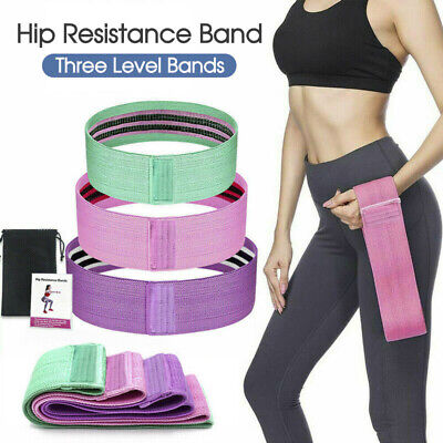 AU17.99 • Buy Resistance Booty Bands Set, 3 Hip Circle Loop Bands Workout Exercise Guide & Bag