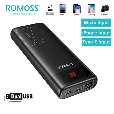 AU29.99 • Buy ROMOSS Power Bank 20000mAh Dual USB 2.1A Fast Portable Phone Battery Charger LED