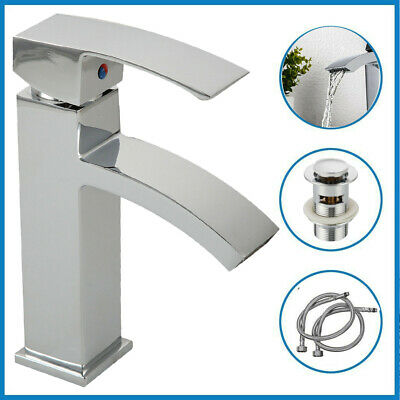 Waterfall Bathroom Taps Basin Mixer Tap Counter Top Brass Faucets Chrome + Waste • 22.90£