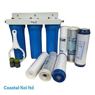 £22.98 • Buy 10 And 20  WATER FILTER PURIFIER 3 STAGE  DECHLORINATOR KOI  POND INC SPARES