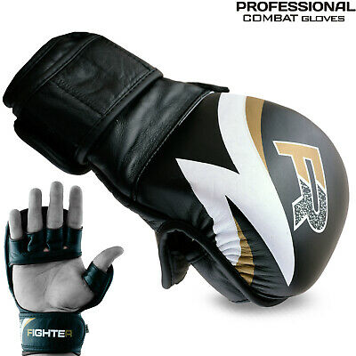 AU34.99 • Buy MMA Gloves Pro Gen Leather Sparring Combat UFC Training Grappling Wrist Fighting