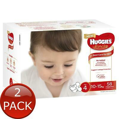 AU100.10 • Buy 2 X HUGGIES ULTIMATE NAPPIES, UNISEX, SIZE 4 (10-15KG), 58 NAPPIES