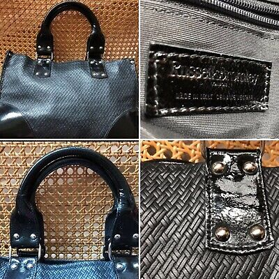 Russell & Bromley Black Textured Leather & Patent Tote Shoulder Womens Bag VGC • 79.99£