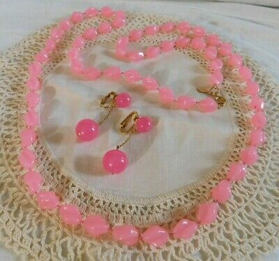 $3 • Buy Vintage Sarah Coventry Pink Beaded Necklace, Dangling Beaded Clip On Earrings