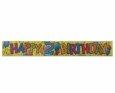AU5.50 • Buy Happy 2nd Birthday Party Supplies Foil Banner 3.65 Metres