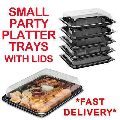 Small Plastic Sandwich Trays Platters With Lids For Party Food Buffet Catering • 13.99£
